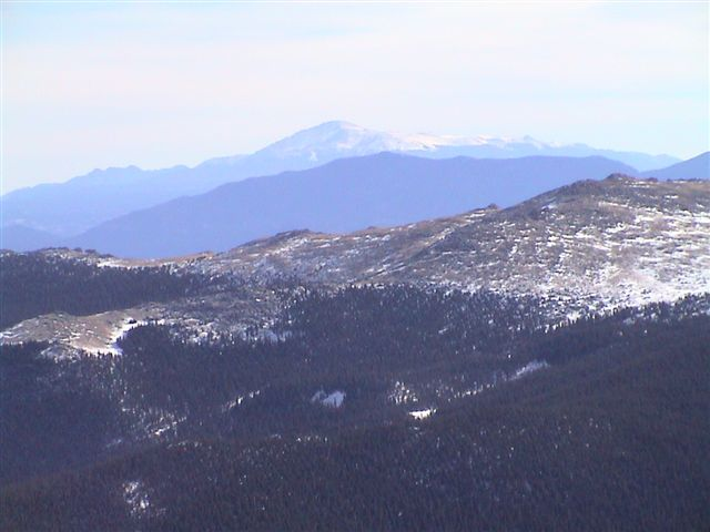 Telephoto shot of Pikes Peak, approximately 60 miles to the south